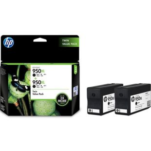 HP 950XL 高收益黑色原装墨盒(两件套)