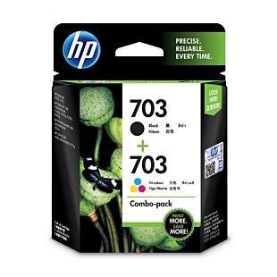 HP 703 号 2 件套黑色/三色原装 Ink Advantage 墨盒