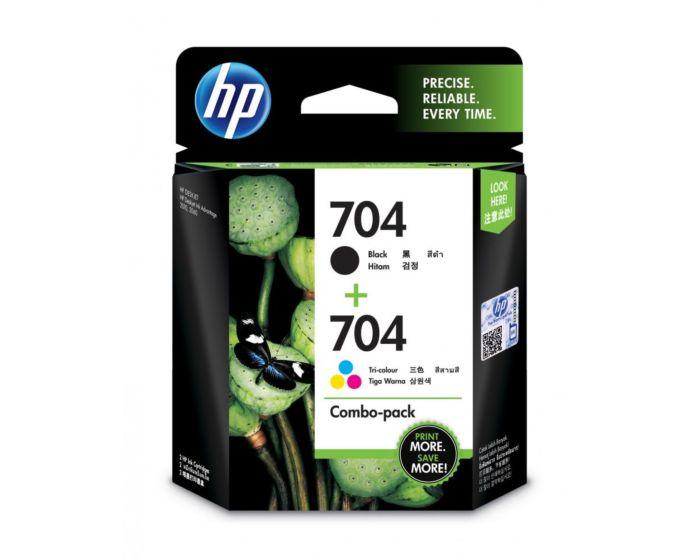 HP 704 号 2 件套黑色/三色原装 Ink Advantage 墨盒