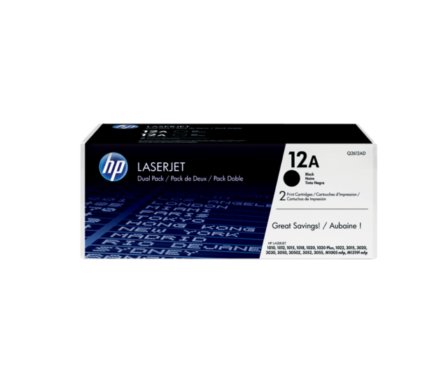 HP 12A 黑色原装 LaserJet 硒鼓(每包 2 个)