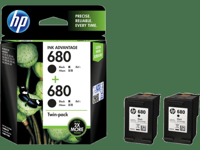 HP 680 黑色原装 Ink Advantage 墨盒(两件装)