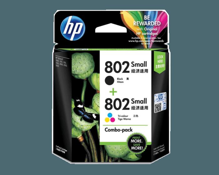 HP 802 号两件装黑色/彩色原装小型墨盒