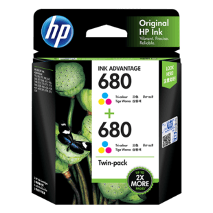 HP 680 彩色原装 Ink Advantage 墨盒(两件装)