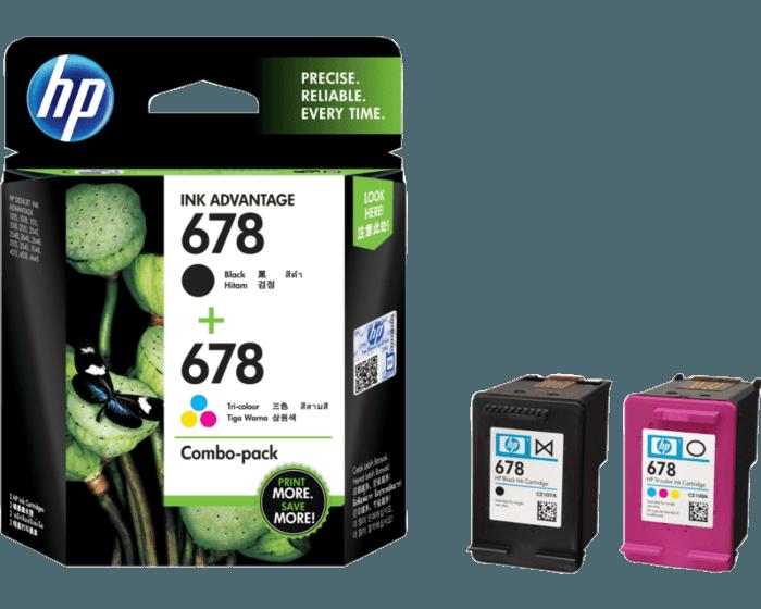 HP 678 号 2 件套黑色/三色原装 Ink Advantage 墨盒